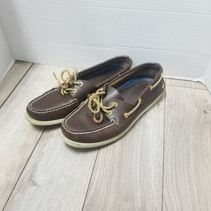 Womens chocolate leather Sperrys size 8